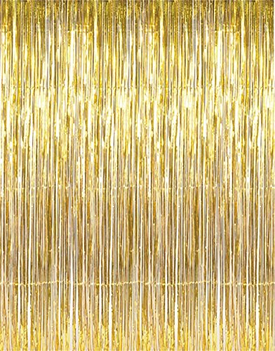 Metallic 3 ft X 8 ft. Gold Foil Fringe Curtains Door Window Curtain Party Decoration- (Gold, 3' X 8'- Pack of (Hollywood Halloween Parties)
