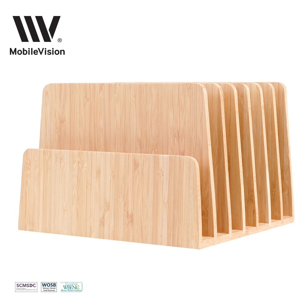 MobileVision Bamboo Desktop File Folder Organizer and Paper Tray, 7 Slots