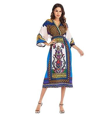 84933246e12 LONUPAZZ Dashiki Robe Longue Femme Africain sans Manches Sexy Imprimée  Tunique Chic LâChe (Asian S