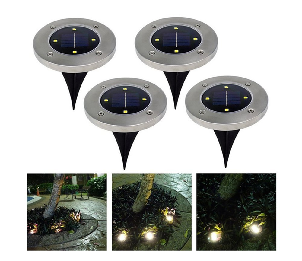 Amazon.com: 4 Packs Disk Lights Solar Powered 4 LED Outdoor Lawn ...