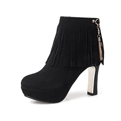 Women's Frosted Round Closed Toe Solid Low Top High-Heels Boots