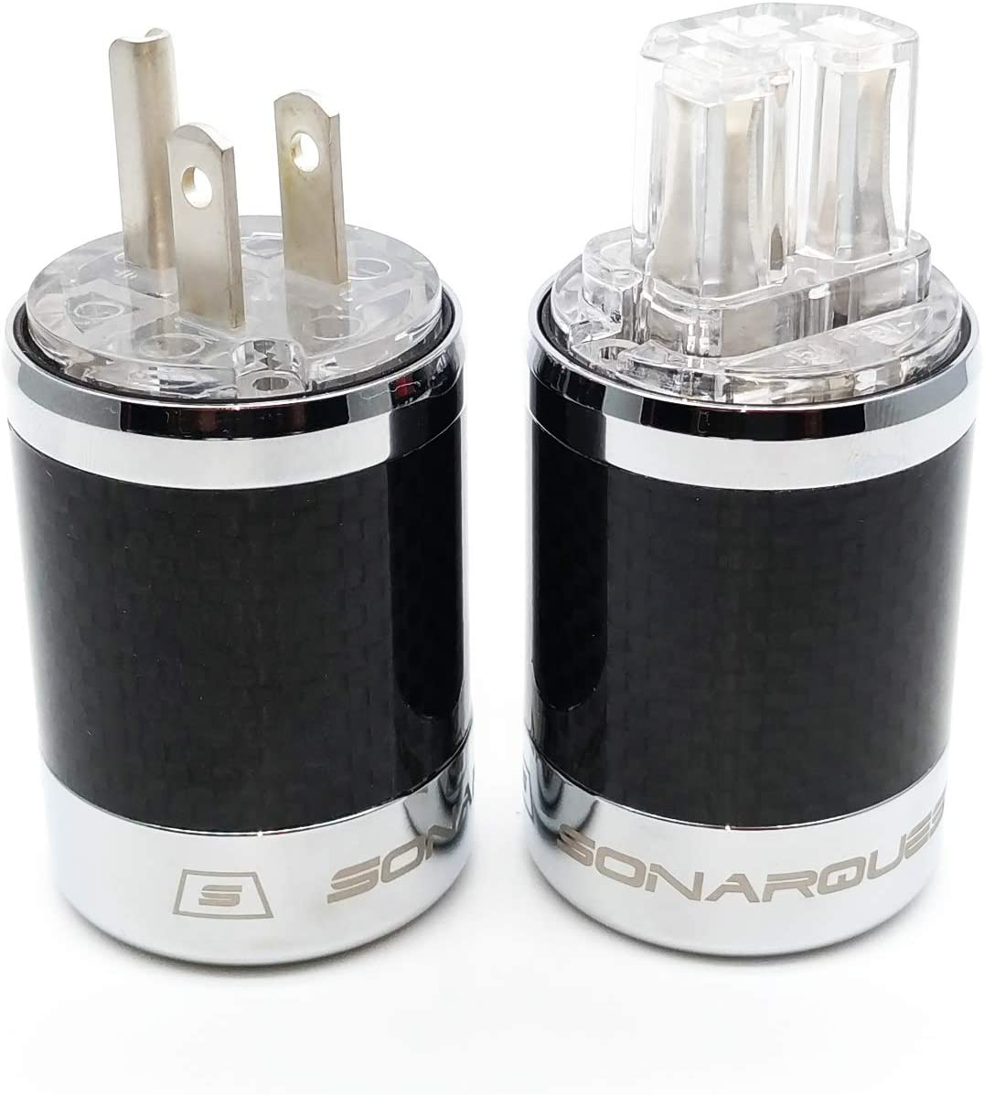T AG AG T+SQ-C29 IEC Carbon Fiber Metal Chassis Connector Transparent SQ-P29 SONARQUEST Silver Plated US Power Plug