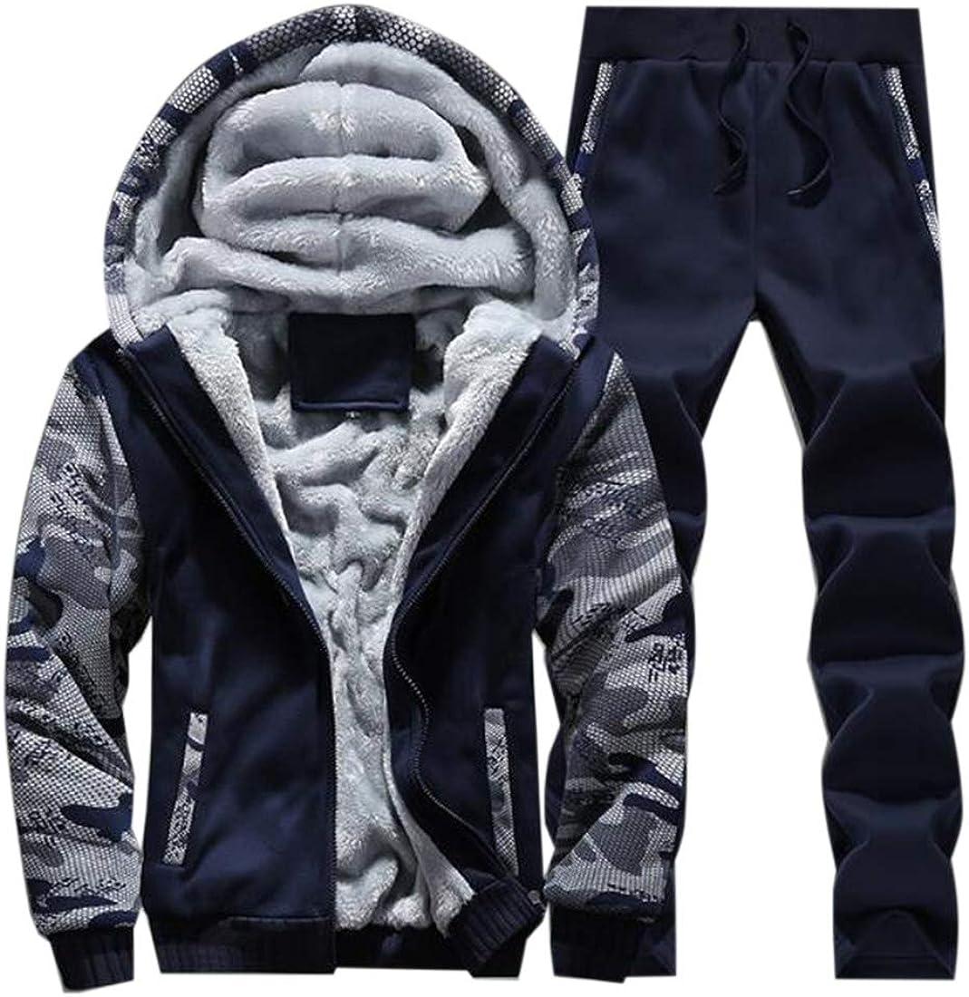 Nanquan Men Winter Fleece Tracksuit Soft Thick Hooded Jogging Sweat Suits Warm Coats