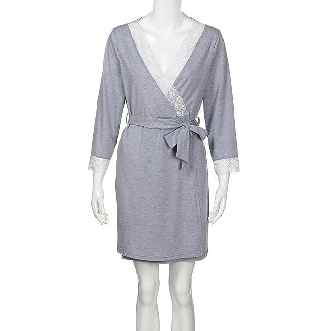 QinMM Vestido de Lactancia Maternidad de Noche Camisón Mujeres Embarazadas Ropa de Dormir Premamá Pijama Verano Encaje