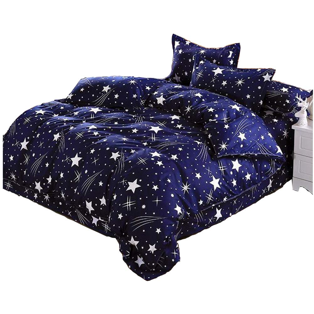Kids Boys Cotton Blend Star Twin Size Bedding Sheets, Without Comforter. (1 Quilt Cover, 1 Flat Sheet and 1 Bed Pillowcase) KingKara