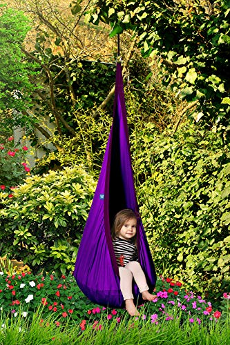 AMAZEYOU Kids Swing Hammock Pod Chair – Child's Rope Hanging Sensory Seat Nest Indoor Outdoor Use Inflatable Pillow – Great Children, All Accessories Included (Purple)