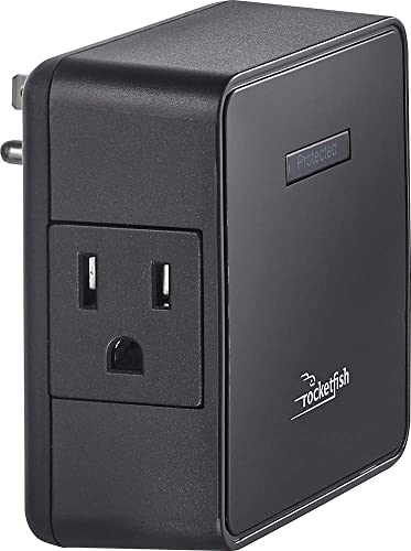 Rocketfish 2-outlet Surge Protector 1500 Joules 47dB Black RF-HTS1215
