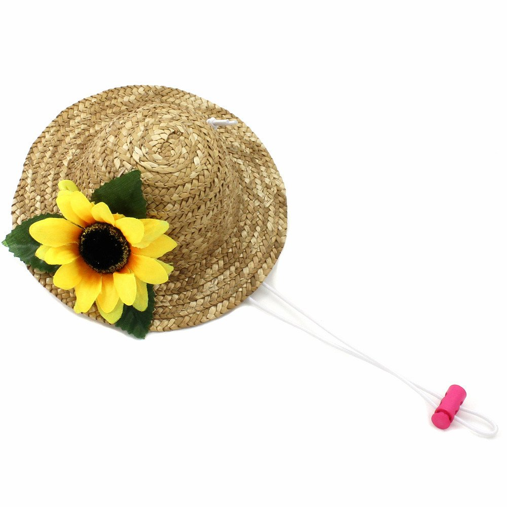 Beautiful 3D Sunflower Handcrafted Woven Straw Pet Hat Costume Cat Dog Hat Toy Hat Novelty Cosplay Farmer Hat w/ Adjustable White Chin String