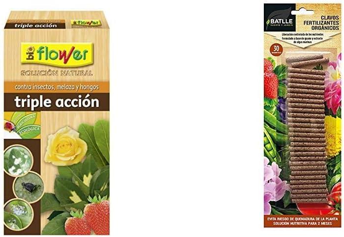 Flower 30587 30587-Triple acción ecológico Concentrado, No Aplica, 9.6x5.7x19 cm + Abonos Ecológicos - Clavos Fertilizantes Orgánicos Batlle - Batlle