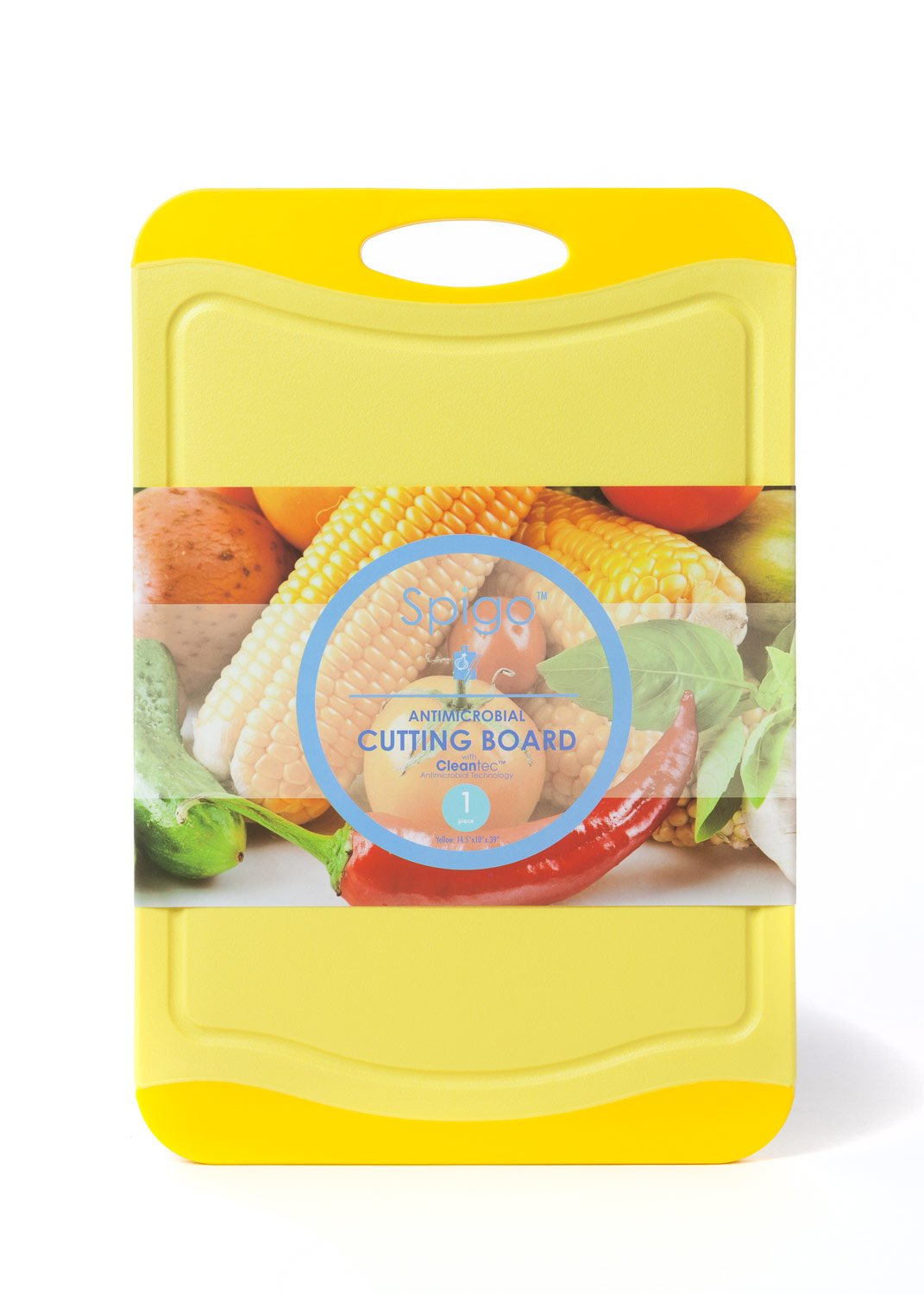 14.3x9.75x.39 Yellow CB-9001-YLW Spigo Antimicrobial Cutting Board with Cleantec Technology