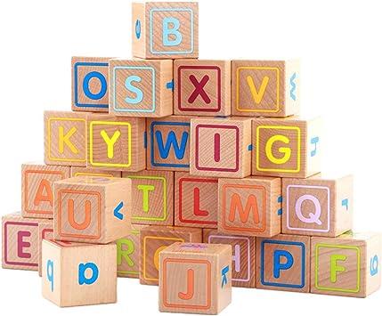 Sharplace 26 Pièces Blocs en Bois ABC Lettres Alphabet Cubes