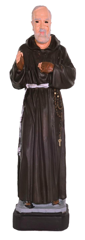 "Ferrari & Arrighetti Padre Pio Outdoor Statue Made of Unbreakable Material, Rain-Resistant, Hand-Painted (ca. 6"" / 16 cm Tall)"