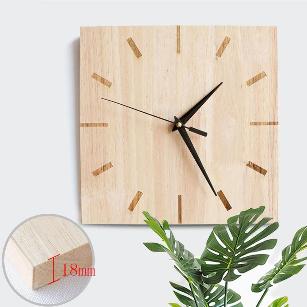 Amazon.com: Yunfeng Wall Clock Silent,Solid Wood Decorative Mute Square Quartz Wall Clock Mute Non-Ticking Easy to Read Home/Office / School Clock: Home & ...