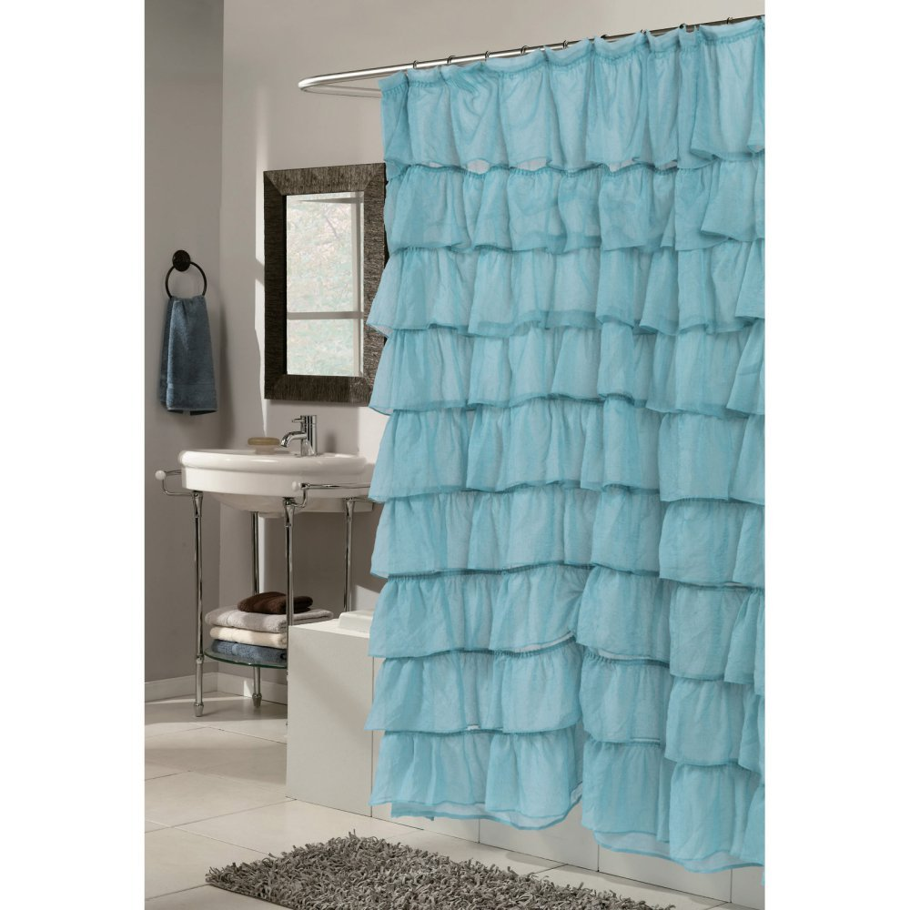 Amazon Carnation Home Fashions Carmen Ruffle Tier Fabric Shower Curtain Kitchen