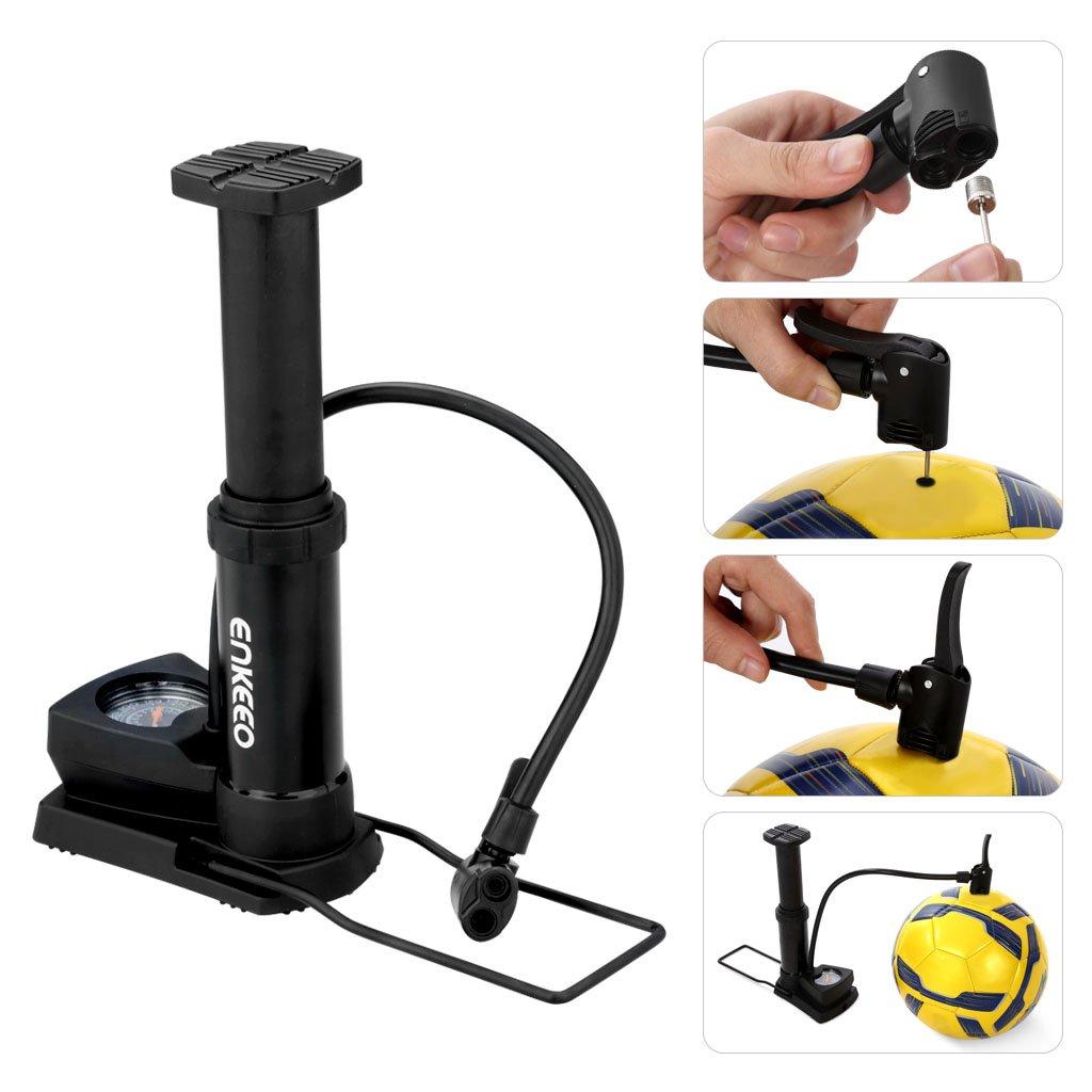 Bomba de aire de pie con man/ómetro 120 PSI Compatible con Presta y Schrader, Aguja de bola, Cono de inflaci/ón inclu/ídos Enkeeo Negro