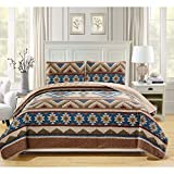 3 Piece Brown Blue Tan Green Cal King Bedspread Set, Contemporary Geometric Reversible Themed Bedding Western Southwest Aztec Pattern Chocolate Taupe Triangle Diamond Navajo Cottage Cabin, Polyester