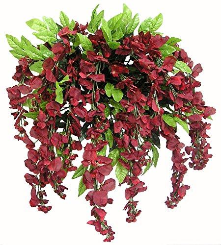 Admired by Nature GPB392-Burg Artificial Wisteria Hanging Flowers Bush, Burgundy Burgundy Wedding Flowers