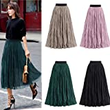 Tutu Mesh Skirt Women Long Elastic Waist Pleated