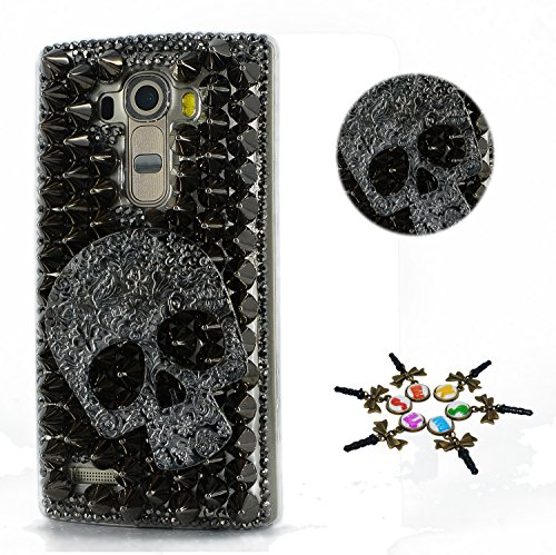 Case Crystal Black Skull (STENES LG Stylo 4 Case - Stylish - 100+ Bling Crystal - 3D Handmade Punk Big Skull Design Protective Cover Case for LG Stylo 4 / LG Q710MS - Black)