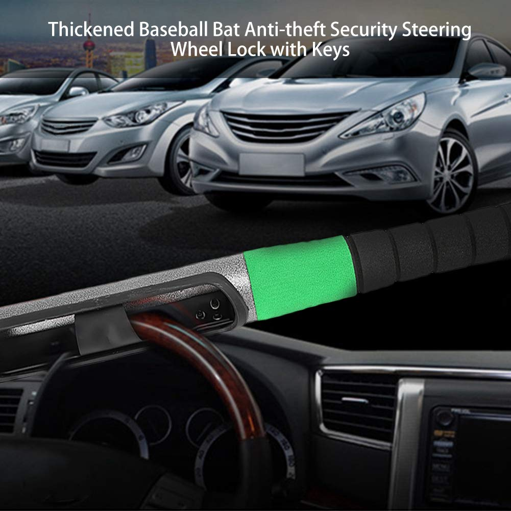 BTIHCEUOT Bloccasterzo con Chiavi Mazza da Baseball Ispessita Universale di Sicurezza antifurto per Auto L//Doppia Scheda Camion