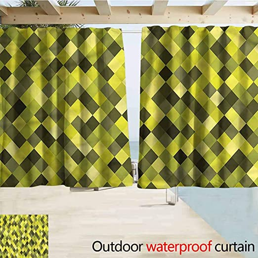 Beihai1Sun - Cortina para Puerta corredera, diseño de Cuadros, Color Amarillo y Verde, eficiencia energética, oscurecimiento: Amazon.es: Jardín