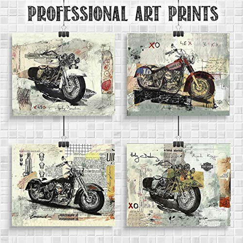 Harley Davidson Motorcycles- 4 Abstract Wall Prints - 8 x10's Wall Decor- Ready To Frame. Harley-Davidson Gifts- Home Decor- Office Decor. Great for Man Cave-Bar-Garage. Refined Harley Davidson Decor (Paper Harley Davidson)