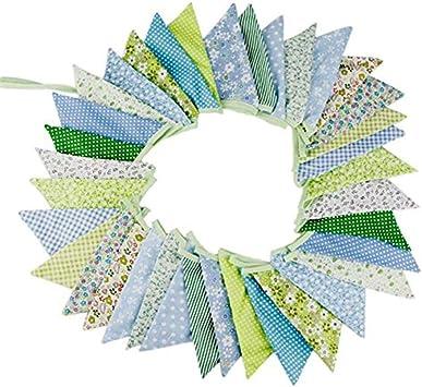 10M 36-lado Bunting, multicolor tela floral algodón triángulo banderas banderín Banner guirnaldas para boda fiesta de cumpleaños al aire libre decoración del hogar: Amazon.es: Bricolaje y herramientas
