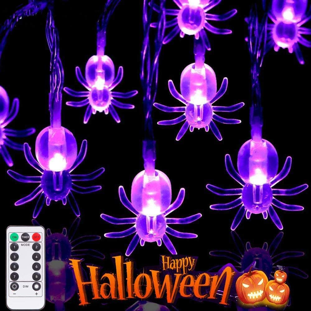 Halloween Decoration String Lights 8 Modes, 13.1Ft 40 LEDs Horror-Shaped Lights with Remote Control IP68 Waterproof Battery Operated Purple Halloween Lights for Outdoor & Indoor - 2 Packs