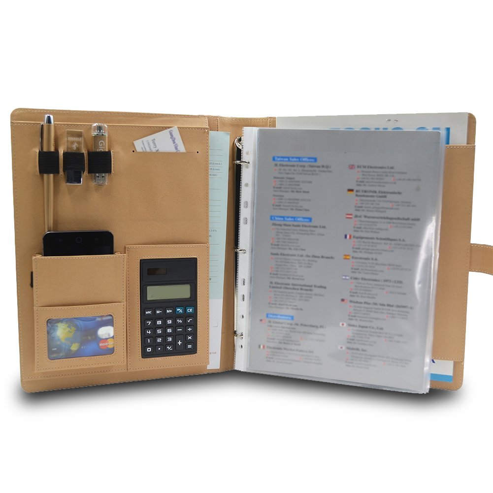 Cartellina da lavoro Caleson in pelle con raccoglitore a 3 anelli, tasche multiuso, calcolatrice e cartella portadocumenti Brown