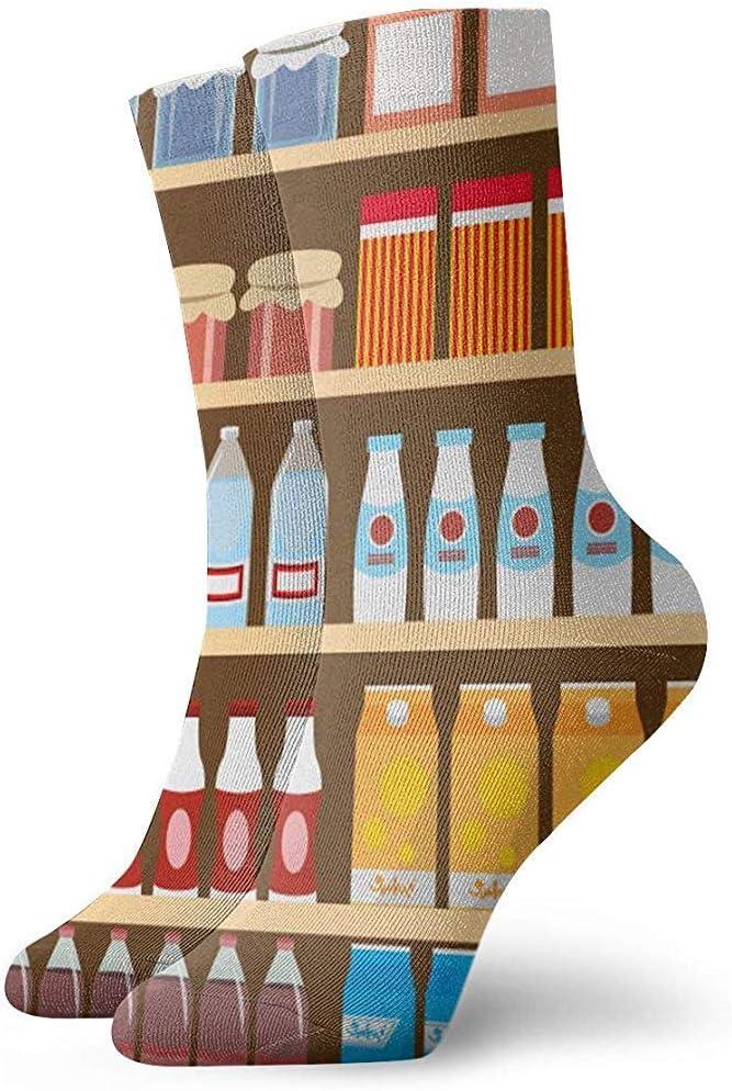 Gre Rry Estantes de Productos lácteos y Bebidas Estantes de Adultos Calcetines Cortos Calcetines Divertidos para Hombres Mujeres