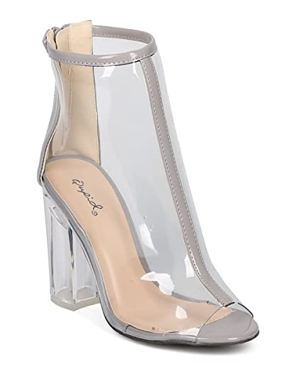 Women Lucite Block Heel Bootie - Dressy Costume Party - Transparent Ankle Boot - GF10 by