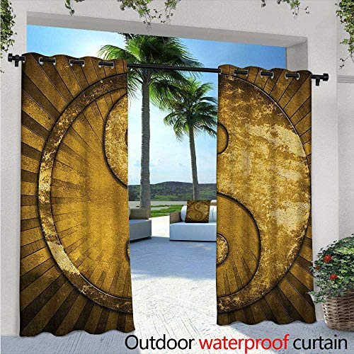 Ying Yang Balcony Curtains Industrial Eastern Asian YingYang on top of Sunburst Technological Pattern Outdoor Patio Curtains Waterproof with Grommets W108 x L96 Brown Pale Brown