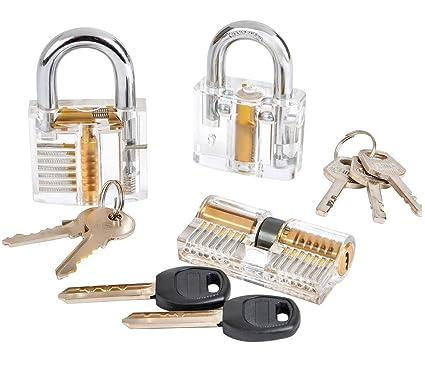 Godlock - Juego de candados para formación de cerrajeros, cristal visible, maqueta