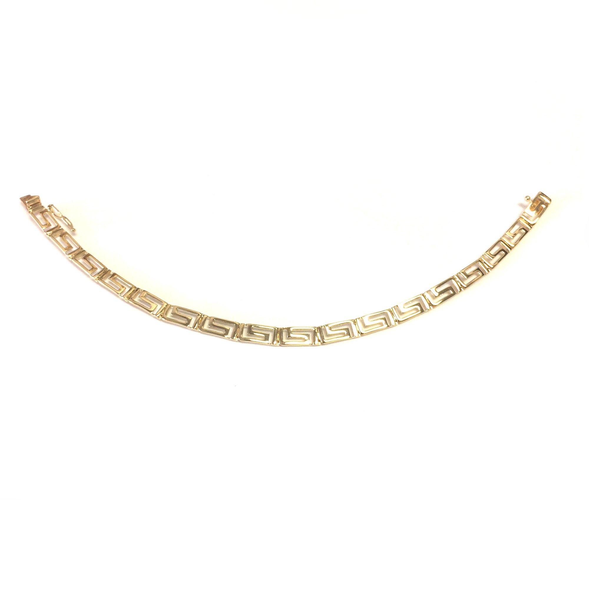 14k Yellow Gold Greek Key Link Bracelet, 7.25'' by Jewelry Affairs