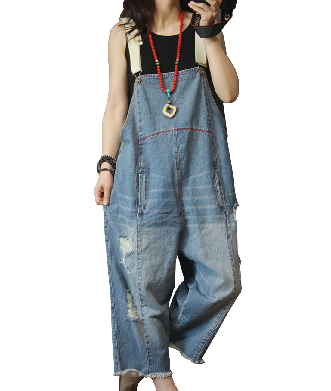 YESNO P49 Women Jeans Cropped Pants Overalls Jumpsuits 100% Cotton Distressed Ripped Fringed Pocket