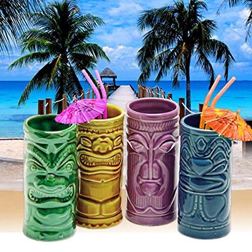 Conjunto de 4 cócteles gafas estatuas Tiki Tiki tazas TotalCadeau