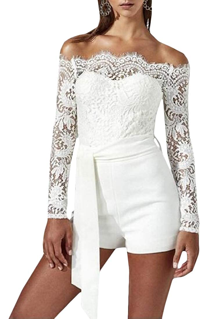 Cromoncent Womens Long Sleeve Off-Shoulder Patch Lace Belted Short Rompers