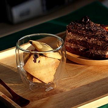 ZH - con aislamiento vasos de doble pared taza de cristal con diseño de calor resistente al frío de doble pared para café té leche vino zumo de helado: ...