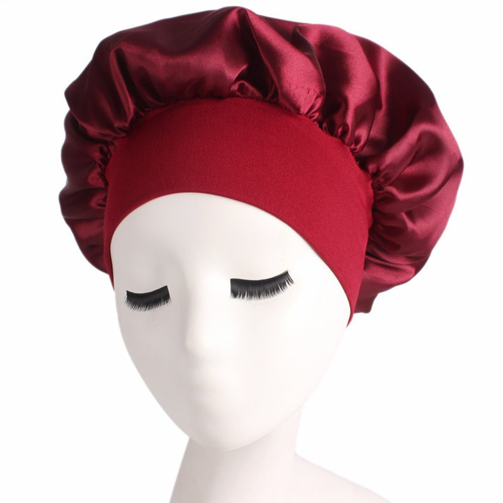Women's Elastic Wide Band Sleep Night Cap Head Cover Bonnet Hat for For Curly Springy Hair (Red) YLing