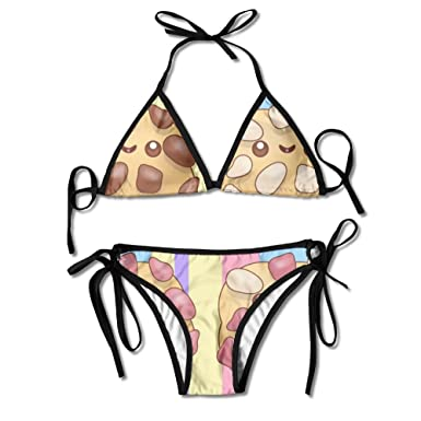 Amazon.com: Qiangzhao Lovely Cookies Sexy Swimsuits Padded Push Up Bikini  Set Bathing Suits Two Pieces Swimwear: Clothing