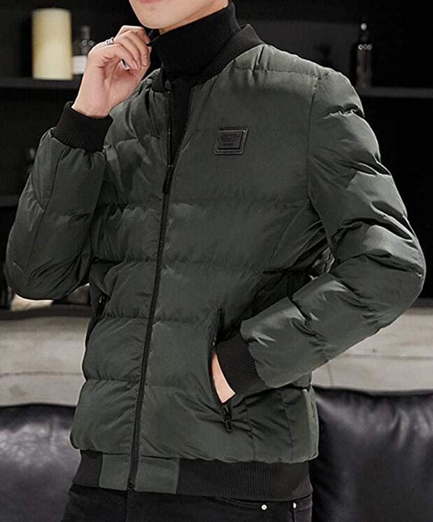 DFBB Men Winter Quilted Zip Up Mandarin Collar Baseball Plus Size Warm Down Parka