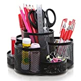 Rotating Black Metal Mesh 7 Compartment Desktop Office Supplies Storage Organizer Caddy Rack