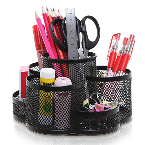 Rotating Black Metal Mesh 7 Compartment Desktop Office Supplies Storage Organizer Caddy Rack ()