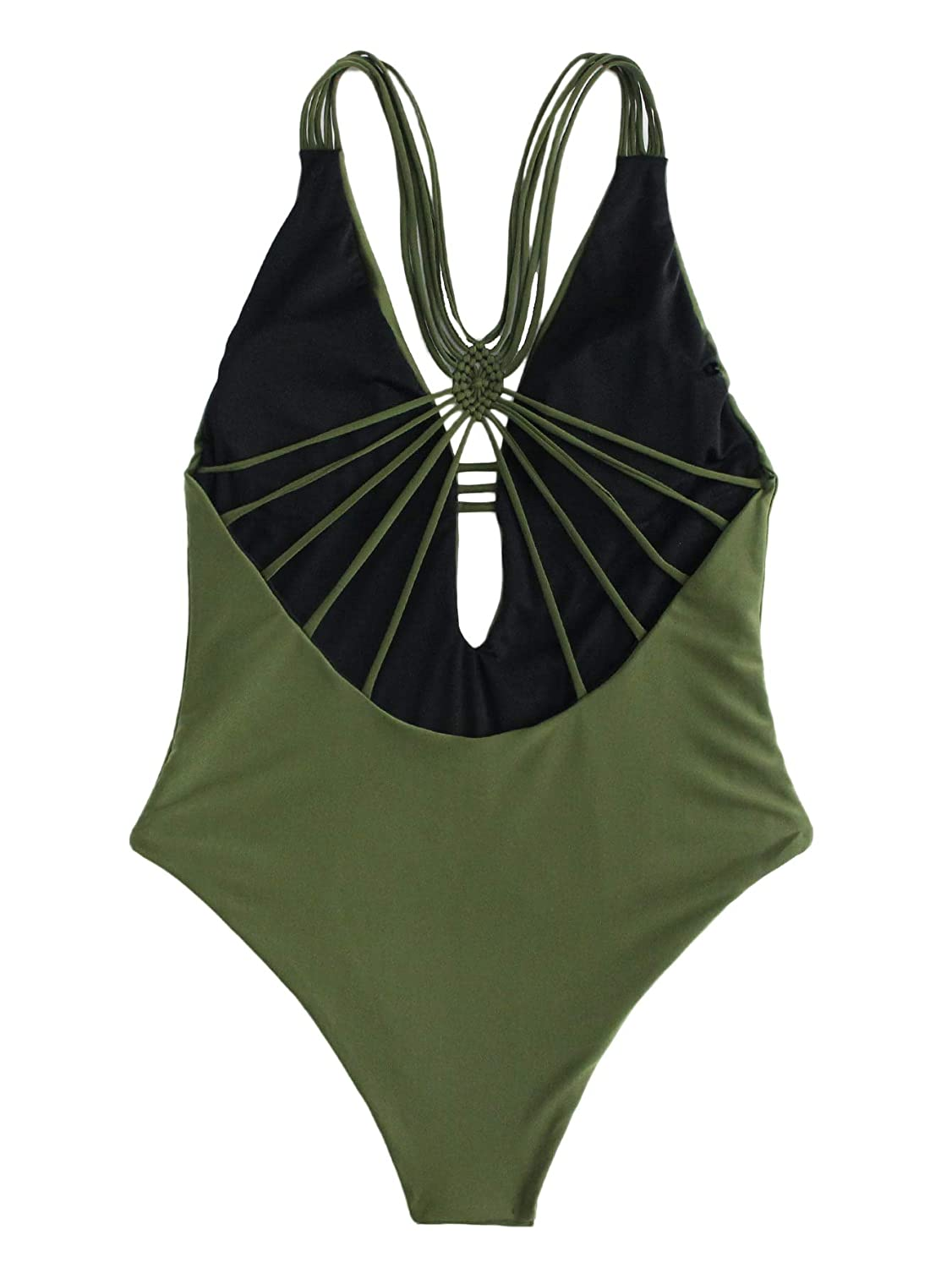 6f1e051a88 SheIn Women's Deep Plunge Strappy One Piece Swimsuits Bathing Suits  Monokinis at Amazon Women's Clothing store: