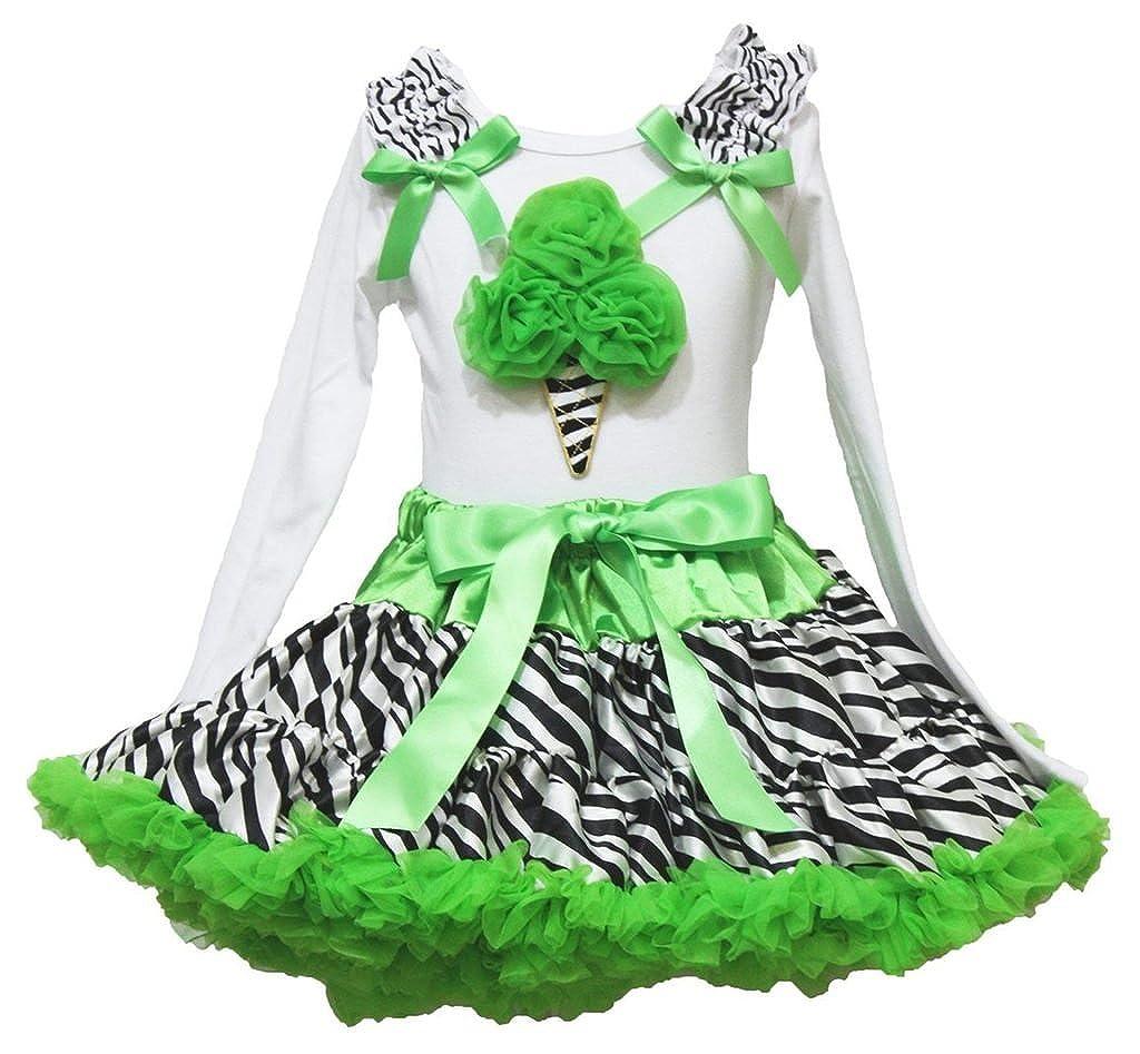 Petitebella Rose Cake White L//s Shirt Lime Green Ribbon Zebra Skirt 1-8y