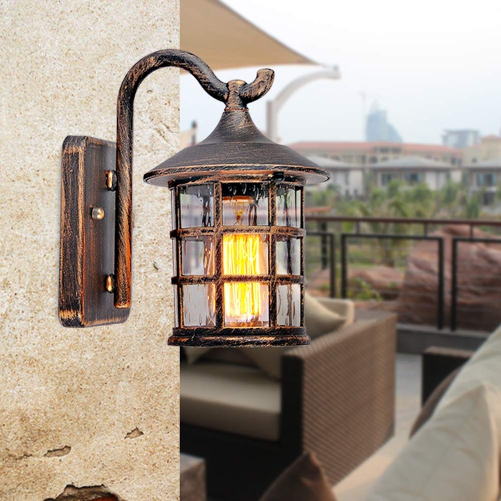 Retro Wand Außenleuchte Wasserdichte IP44 Wandleuchte E27 240V Bronze Vintage Wandlampe Aluminium und Glas Wandbeleuchtung Hof Garten Terrasse Licht Flur Balkon Wandlicht 22  15  25 cm