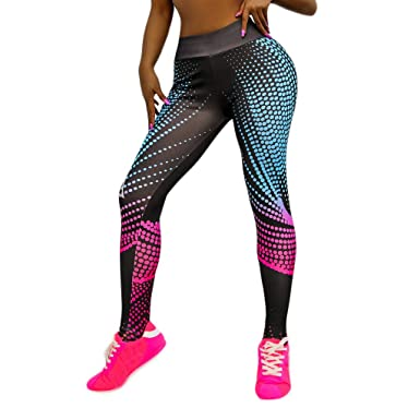 Amazon.com: kemilove Printed Yoga Pants High Waist Fitness ...