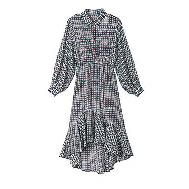 Vestido de Mujer Falda de Manga Larga a Cuadros de Solapa Delgada ...
