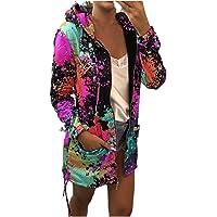 LIUGG Jackets for Women Fashion Casual Blazer Fall - Tie Dye Print Cardigan Coat Pocket Outwear Sweatshirt Hooded…