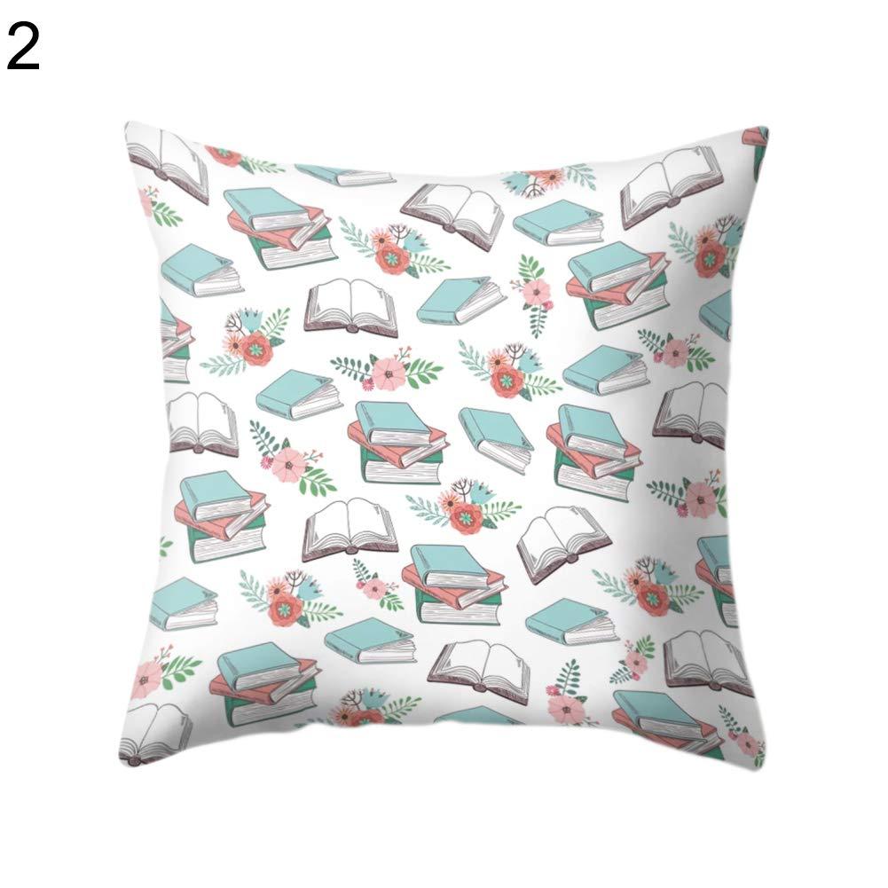 FAgdsyigao Reading Books Kettle Mug Throw Pillow Case, Square Cushion Cover for Car Sofa Bed Home Decor, 45cm x 45cm Pillowcase 2#